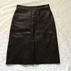 Politix Dark Brown Straight Leather Skirt